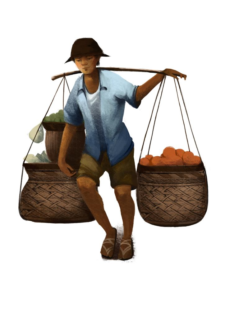 A stylised street hawker carrying food for sale in historical Singapore.